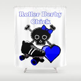 Roller Derby Chick (Blue) Shower Curtain