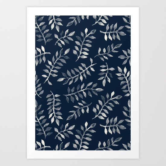 White Leaves on Navy - a hand painted pattern Art Print