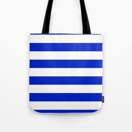Cobalt Blue and White Wide Cabana Tent Stripe Tote Bag
