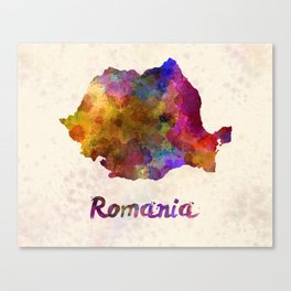 Romania in watercolor Canvas Print