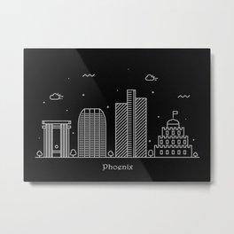 Phoenix Minimal Nightscape / Skyline Drawing Metal Print