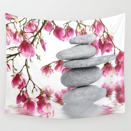 Magnolia flowers and zen stones 10 Wall Tapestry