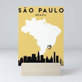 SAO PAULO BRAZIL LOVE CITY SILHOUETTE SKYLINE ART Mini Art Print