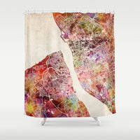 liverpool Shower Curtains featuring Liverpool by MapMapMaps.Watercolors