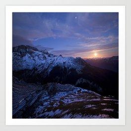 Moon rising above Swiss Alps Art Print