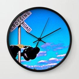 Railroad Crossing Clouds Wall Clock
