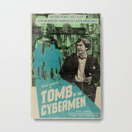"""Doctor Who """"Tomb of the Cybermen"""" Retro Movie Poster Metal Print"""