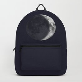 Waxing Crescent Moon on Navy Backpack