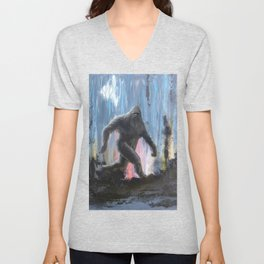 Bigfoot at Twilight Unisex V-Neck