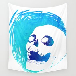 Scratchy Skull (Blue) Wall Tapestry