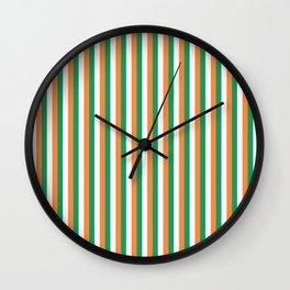 Irish Tricolour Vertical Stripes Green Orange and White Irish Flag Wall Clock