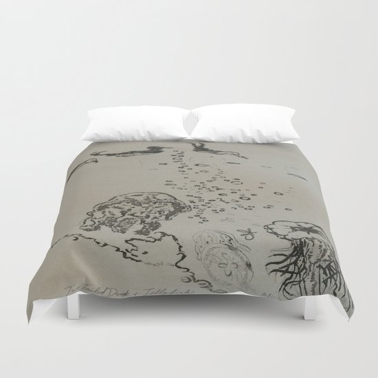 Under The Sea Green Black and White  Duvet Cover