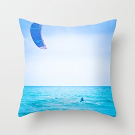 Kite surf blue Throw Pillow