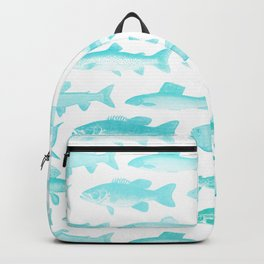 Fishes - Simple pattern in aqua on clear white Backpack
