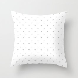 Small sketchy silver hearts pattern on white background Throw Pillow