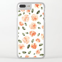 Peach Roses with Olive Leaves // Hand Painted Watercolor Flowers // Peach Roses with Green Leaves Clear iPhone Case