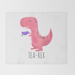 Tea-Rex | Pink Throw Blanket