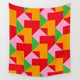 Green red Orange pink coloured mosaic with edges and squares and rectangular shapes and others Wall Tapestry