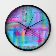 Pink with Blue Dots Wall Clock