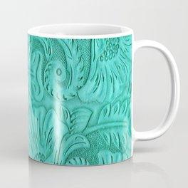 Turquoise Tooled Leather Print Coffee Mug