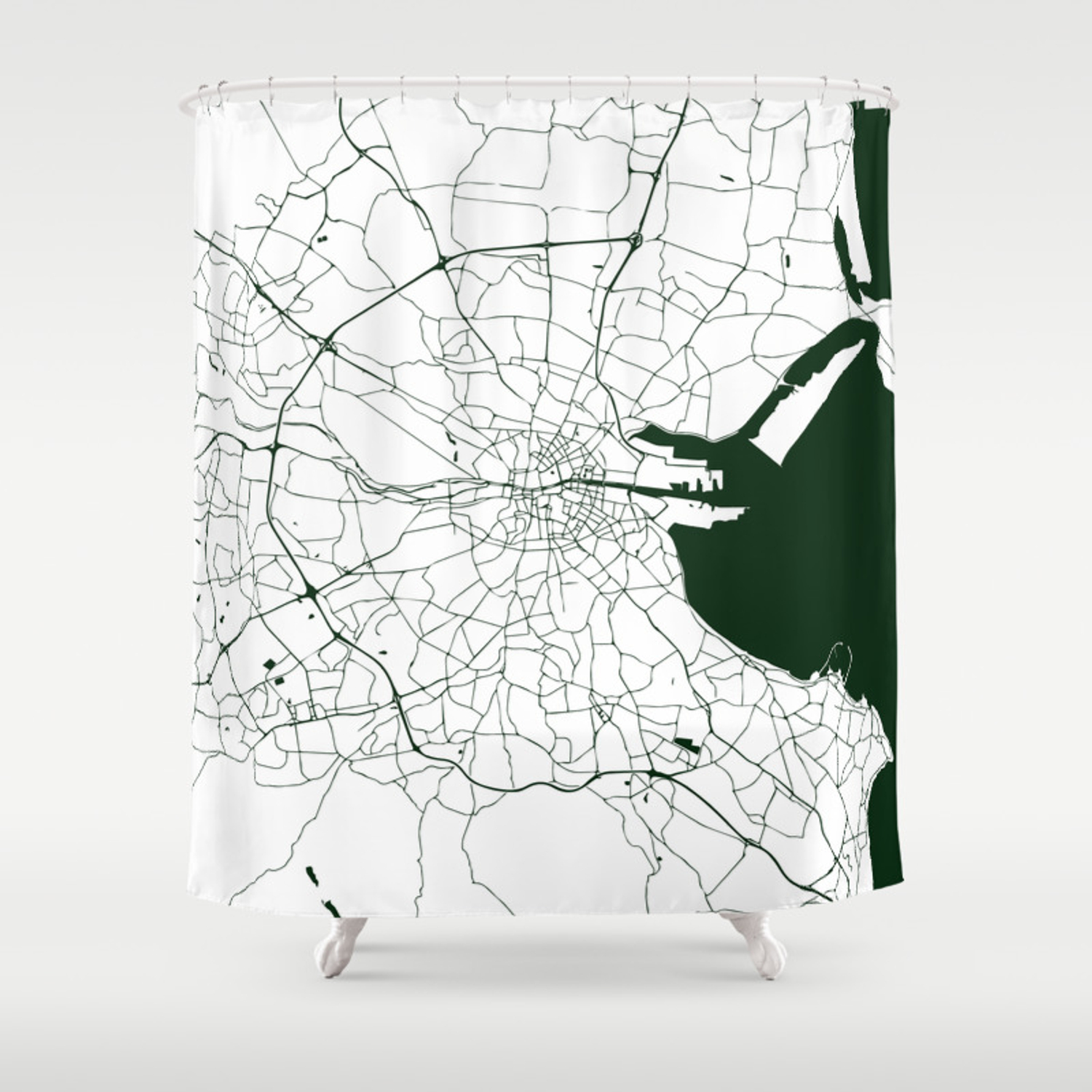 White On Dark Green Dublin Street Map Shower Curtain