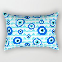 Evil Eye Charms Blue and White Pattern Rectangular Pillow