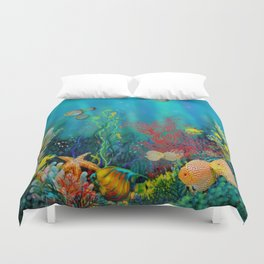 Undersea Art With Coral Duvet Cover