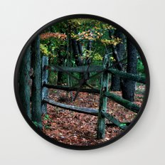 Forest Fence Wall Clock