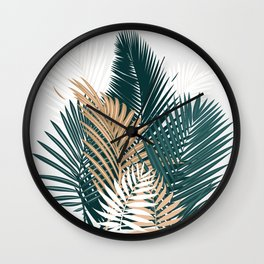 Gold and Green Palm Leaves Wall Clock