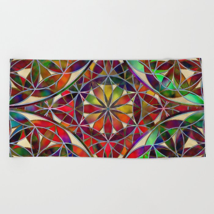 Flower of Life variation Beach Towel