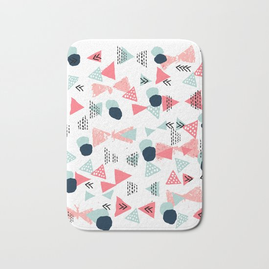 Gender neutral trendy mint navy abstract art for nursery baby college dorm Bath Mat