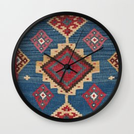 Vintage Woven Kilim II // 19th Century Colorful Royal Blue Yellow Authentic Classic Ornate Accent Pa Wall Clock