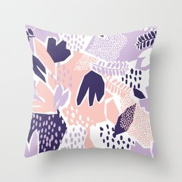 Pastel Cut-Out Abstract Collage Throw Pillow