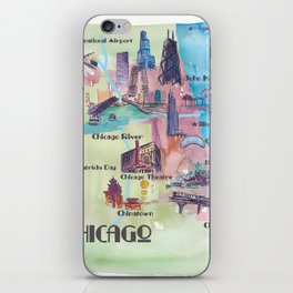 Chicago Favorite Map with touristic Top Ten Highlights in Colorful Retro Style iPhone Skin
