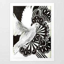 Black Lace Dove Art Print