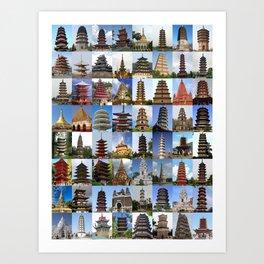 Pagodas Montage Art Print