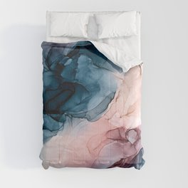 Pastel Plum, Deep Blue, Blush and Gold Abstract Painting Comforters