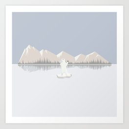 Loneliness of a polar bear Art Print