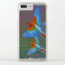 SHABBY CHIC BLUE MACAWS FLIGHT Clear iPhone Case