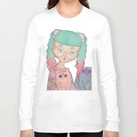 loll3 Long Sleeve T-shirts featuring Cat Lady by lOll3