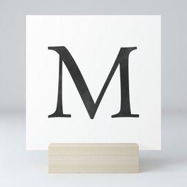 Letter M Initial Monogram Black and White Mini Art Print