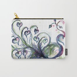 Peacock Pink Hearts watercolour by CheyAnne Sexton Carry-All Pouch