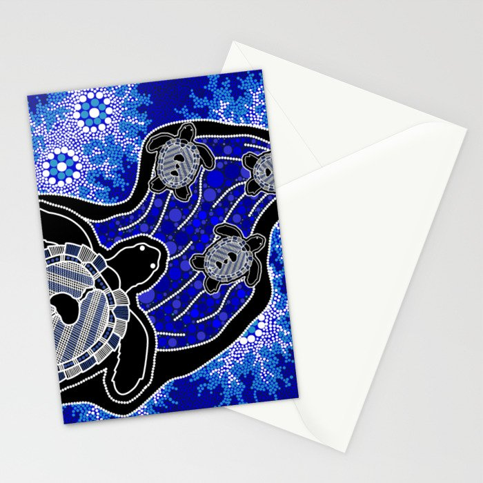 Baby Sea Turtles - Aboriginal Art Stationery Cards