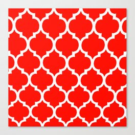 MOROCCAN RED AND WHITE PATTERN Canvas Print