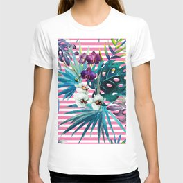 orchid of stripe T-shirt