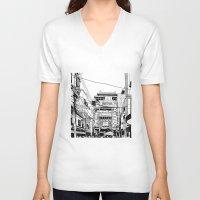 china V-neck T-shirts featuring Yokohama - China town by parisian samurai studio