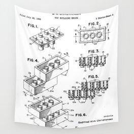 Legos Patent - Legos Brick Art - Black And White Wall Tapestry