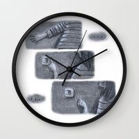 nope Wall Clocks featuring ...Nope... by Jia Guo