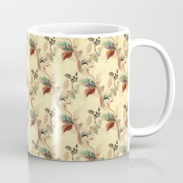 Antique Floral Pattern - Mint & Rust Colors on Beige / Yellow Coffee Mug