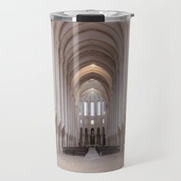 Well-lit view of the Alcobaca Monastery's nave towards the main chapel and ambulatory. Travel Mug